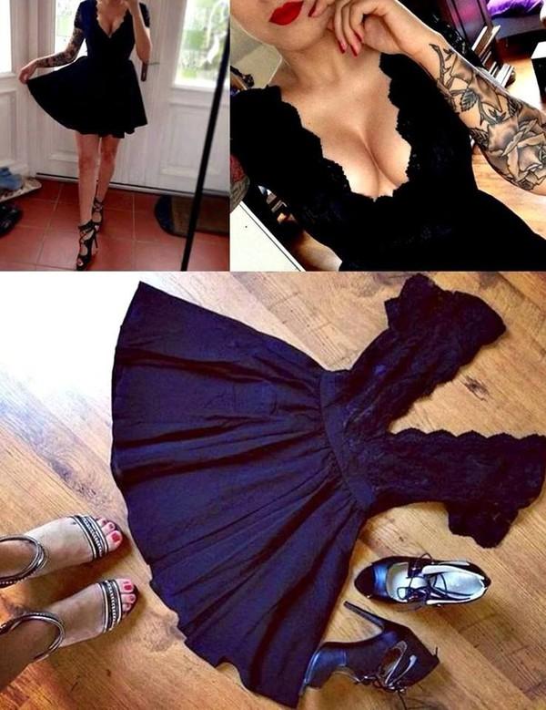 little black dress sexy elegant dress sexy dress dress backless low cut short dress neckline v-neckline evening dress