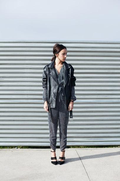 lucitisima blogger jumpsuit leather jacket long sleeves