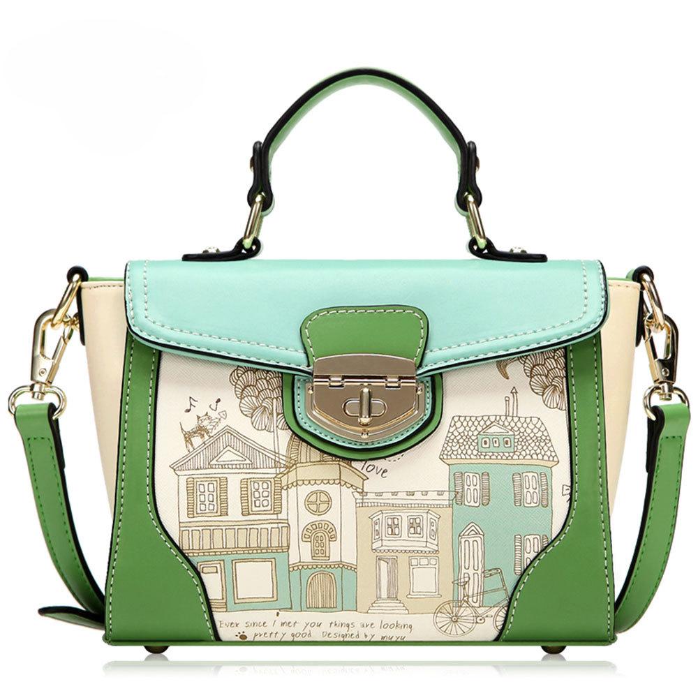 [grxjy5204140]Fashion Contrast Color Floral Print Handbag Cross Body Bag / thevintagestudio
