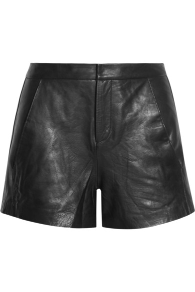 Maje|Doug leather shorts|NET-A-PORTER.COM