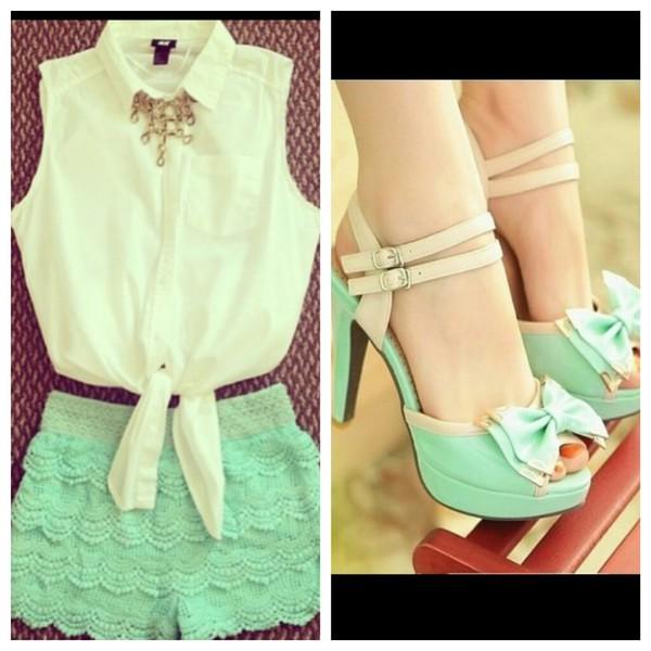 blouse shorts shoes pastel mint