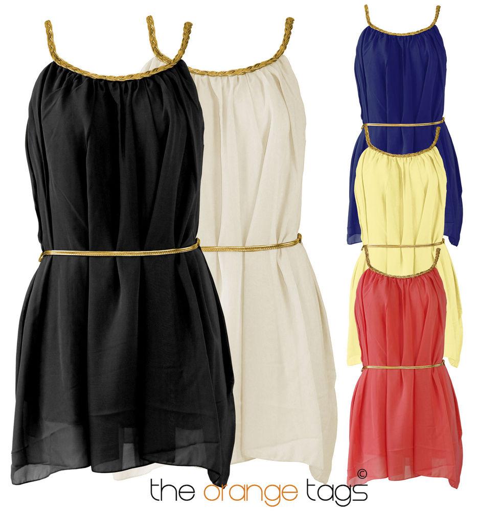 LADIES GREEK GLADIATOR STYLE GOLD BELTED GRECIAN CHIFFON WOMENS MINI DRESS | eBay