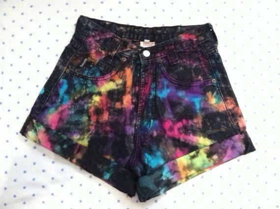 bright splatter tie dye high waist shorts by SewOeno on Etsy