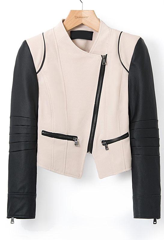 Khaki Contrast Leather Long Sleeve Crop Jacket - Sheinside.com