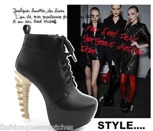 Fashion New Celebrity Bone Heels Boots Platform Fashion Shoes | eBay