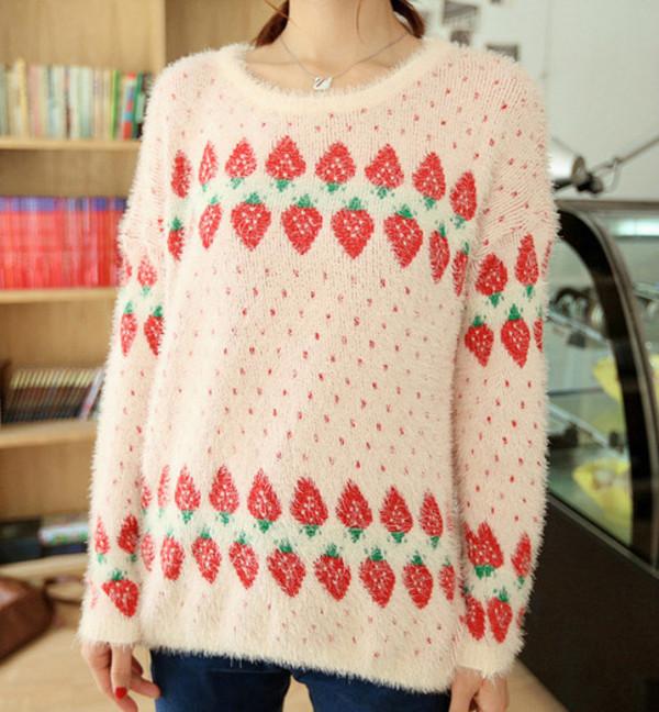 sweater fruits strawberry strawberry fluffy cute girl girly feminine girly girl pink shirt shirt top top blouse blouse winter sweater oversized sweater cute sweaters fuzzy sweater