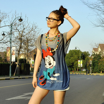Promotion Selling Fashionable Striped  cute mickey mouse round collar  Print  Large Size loose Women's  Long Blouse  T Shirt-inT-Shirts from Apparel & Accessories on Aliexpress.com