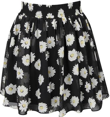 Black Floral Print Mini Skirt - Polyvore