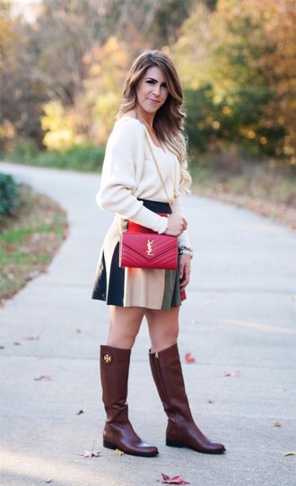 herestheskinny blogger skirt sweater shoes bag jewels make-up ysl bag ysl mini skirt fall outfits boots flat boots
