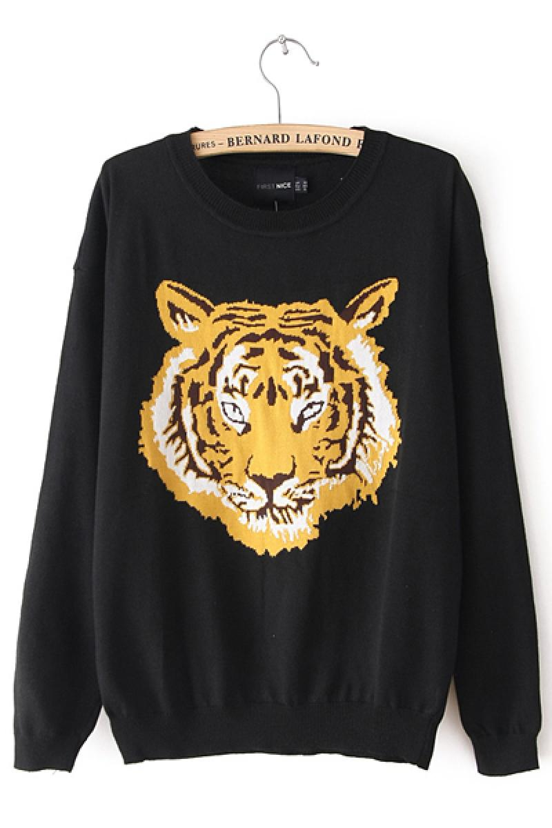 New Western Tiger Printing Knitwear,Cheap in Wendybox.com