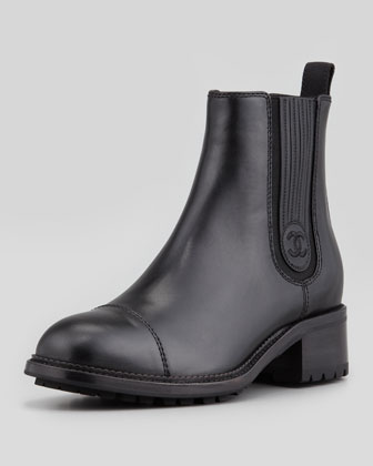 CHANEL Pull-On Leather Chelsea Boot, Black - Neiman Marcus