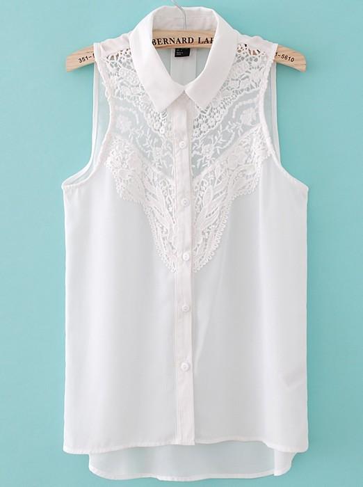 White Sleeveless Crochet Lace Front Shirt - Sheinside.com