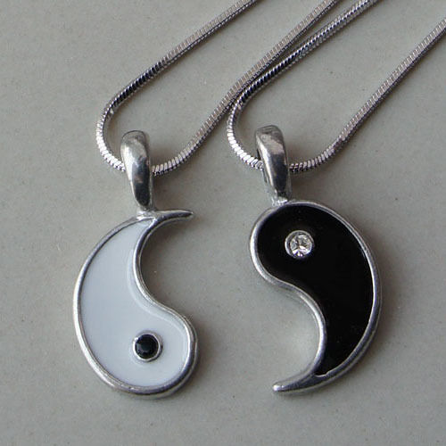 Split Yin Yang Love Best Friend Black Clear Crystal Silver Pewter Pendant | eBay