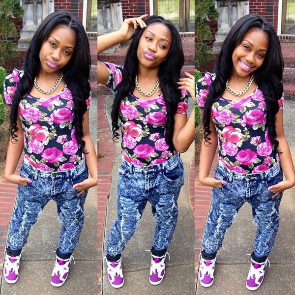 top theylovetrinnn instagram cute purple weave swag girl jeans shoes shirt light purple floral short sleeve