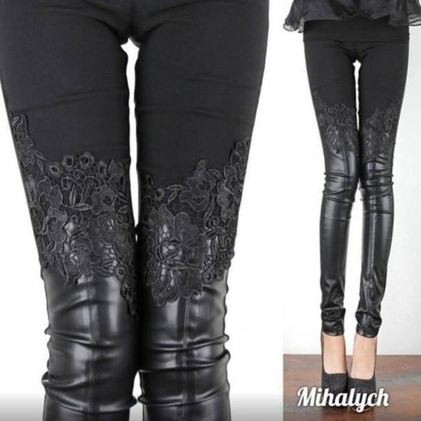 leggings leather leather pants lace pants lace lace leather