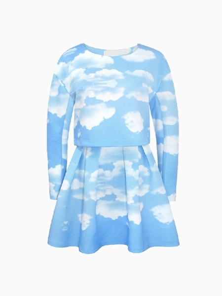 New Look Cloud Printed Blouse With Skirt | Choies