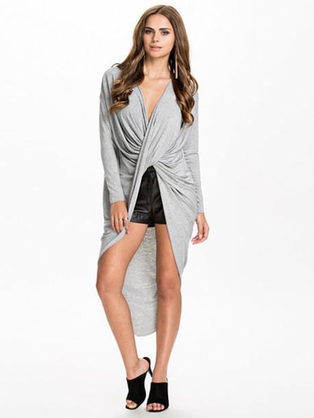 sweater long shirt draped drape top grey sweater