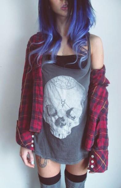 shirt skull punk grunge edgy top tank top