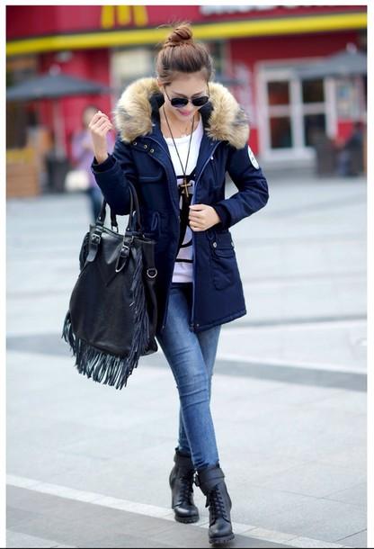 coat parka faux fur