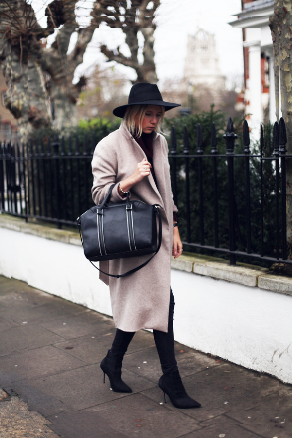 into the fold bag sweater coat hat shoes jeans