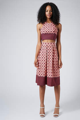 V-Neck Cut-Away Tile Crop Top and Midi Skirt - Suits and Co-ords - Clothing - Topshop USA