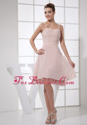Light Pink Straps Knee-length Prom Party Dress Beading