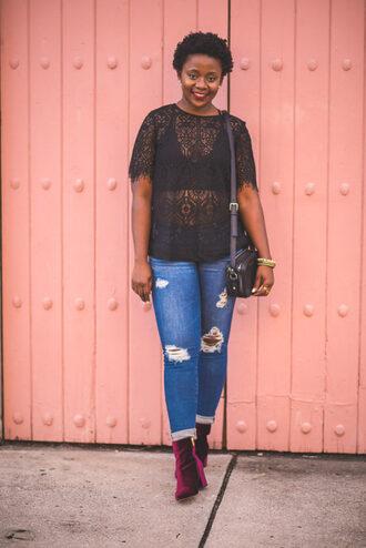 pinksole blogger jewels top jeans shoes bag ankle boots lace top shoulder bag