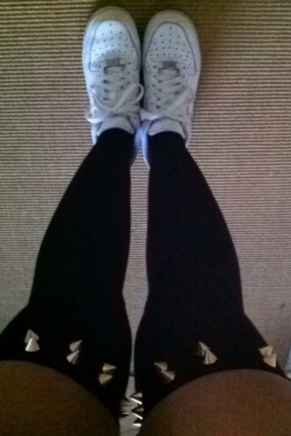 pants spikes socks black