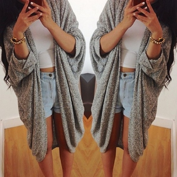 white top denim shorts cardigan crop tops shorts oversized cardigan long cardigan grey cardigan