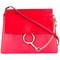 Chloé faye shoulder bag, women's, red, calf leather/calf suede