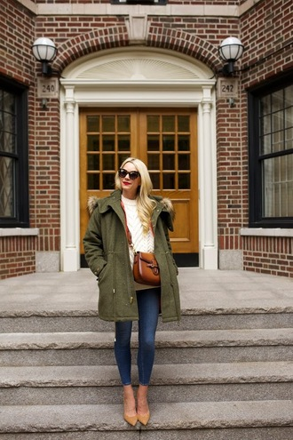 atlantic pacific blogger sweater bag coat sunglasses fall coat parka white cable knit sweater cable knit army green jacket brown bag brown leather bag leather bag tortoise shell sunglasses tortoise shell denim