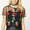 Contemporary embroidered floral mesh top