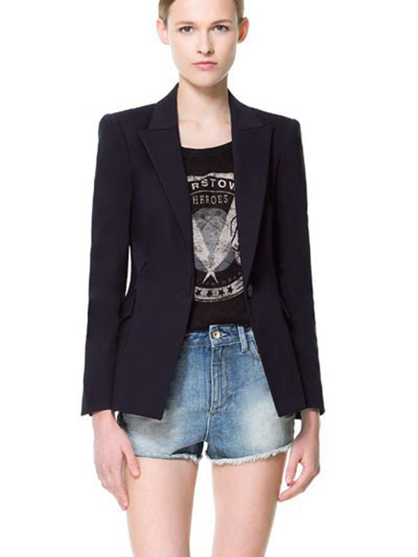 Black Suit Collar Long Sleeve Plain Fitted Cotton Blending Jacket : KissChic.com