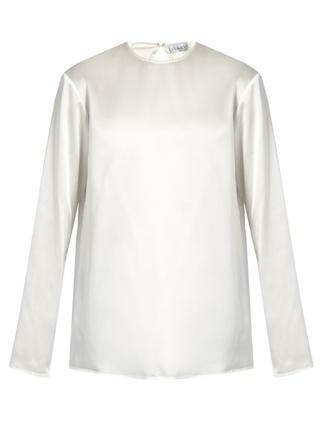 blouse raey fashion clothes crew-neck silk-satin