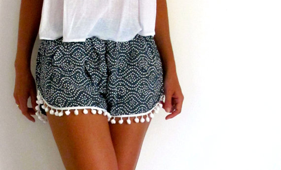 Pom Pom Shorts  Navy and White dot pattern with by ljcdesignss