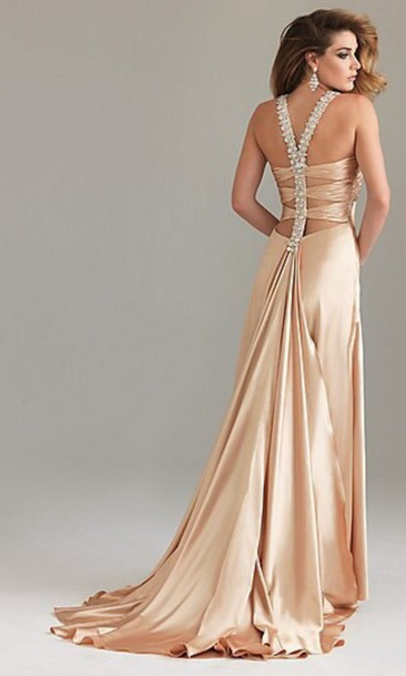 dress champagne dress backless dress