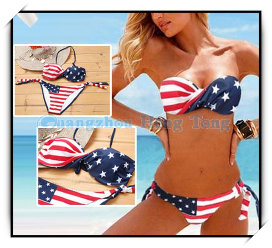 The new flag of the United States in Europe and America, Ms. Bikini swimsuit women swimwear gather type Women Free Shipping-in Bikinis Set from Apparel & Accessories on Aliexpress.com