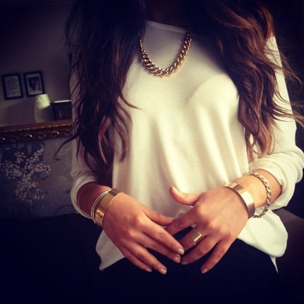 shirt white sweater tumblr pretty jewels blouse gold