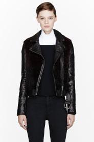 Mackage Burgundy Fur & Leather Biker Jacket for women | SSENSE