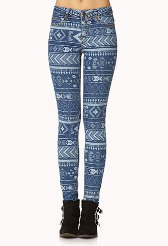 Adventurer Tribal Print Skinny Jeans   FOREVER21 - 2000075169