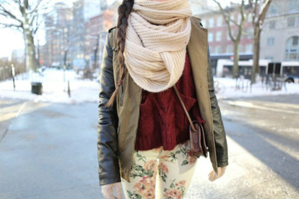 scarf knitted scarf cream thick long