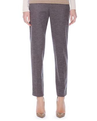 Lela Rose Grid-Yoked Silk Blouse and Caroline Printed Ankle Pants
