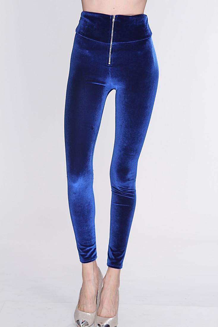 Royal Blue Velvet High Waist Leggings @ Amiclubwear Pants Online Store: sexy pants,sexy club wear,women's leather pants, hot pants,tight pants,sweat pants,white pants,black pants,baggy pants,smarty pants,plastic pants,women's jeans,plaid pants,gaucho pant