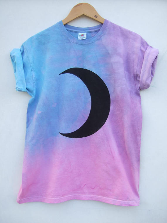 Top Moon Phase Crescent Pastel Grunge Shirt, Purple Pink Tie Dye Top  TL83