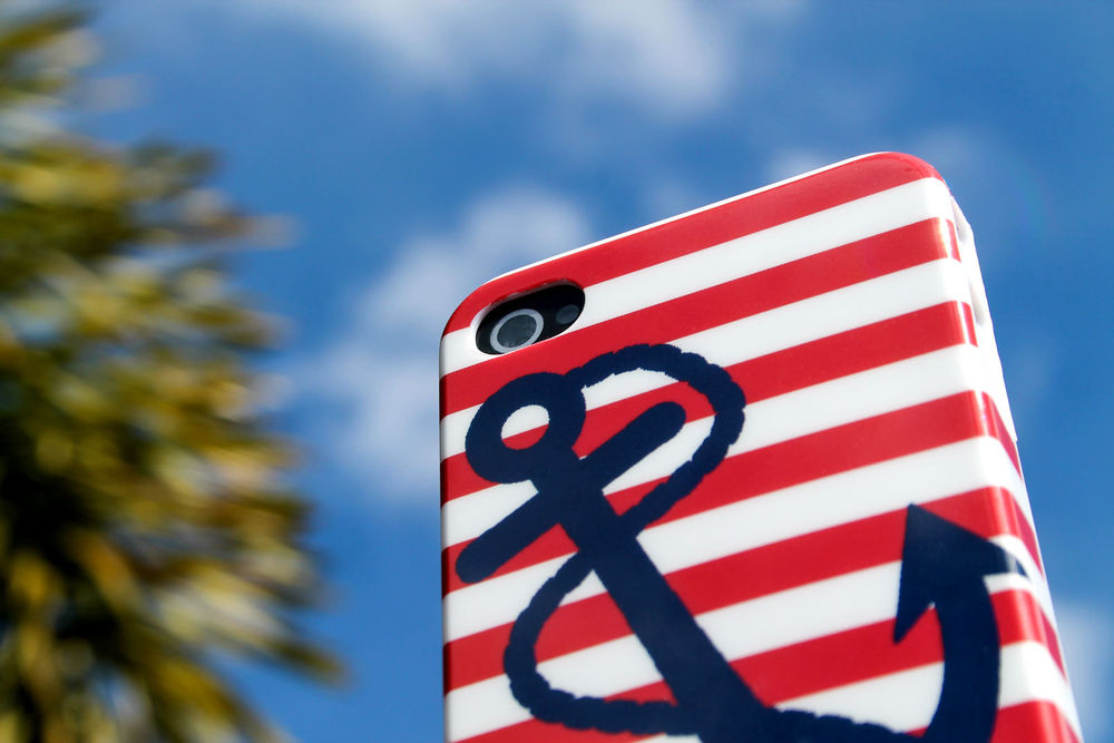 Red Stripes Nautical Anchor w Rope Case Cover Protector for Apple iPhone 4 4S   eBay