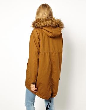 ASOS | ASOS Cocoon Parka With Oversized Fur Trim Hood at ASOS