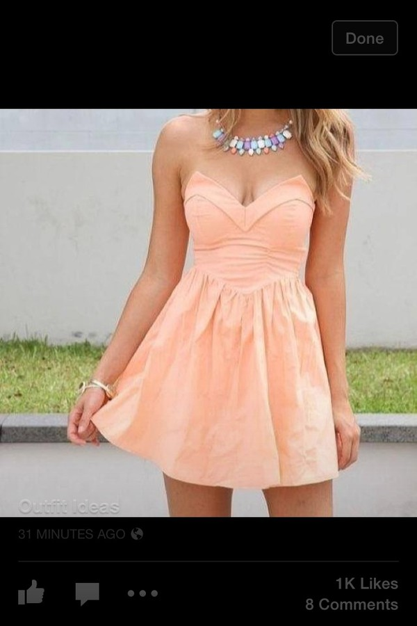 dress orange cute dress