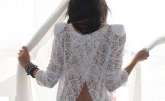 t-shirt white t-shirt lace lace top white lace top open back white top split back