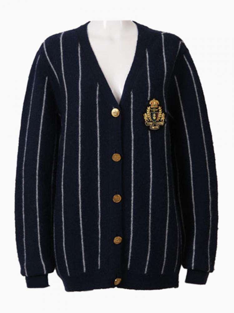 Stripe Sweater With Patched Badge | Choies
