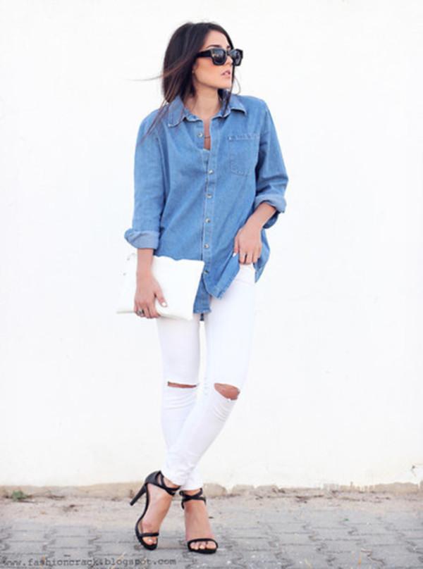shirt denim light blue t-shirt white pants sunglasses